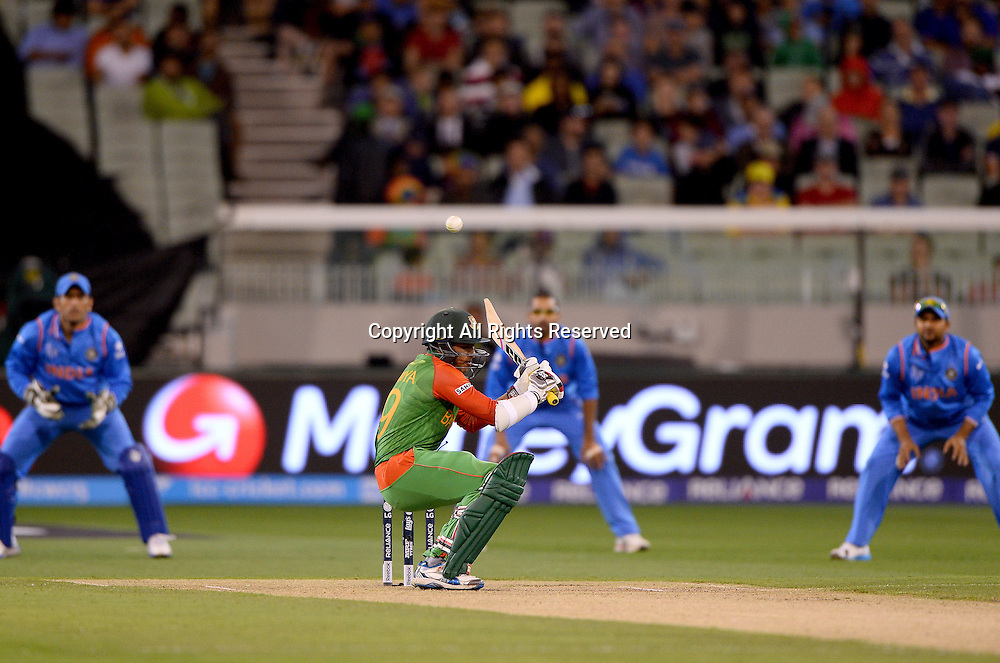 Soumya Sarker  (Bang)<br /> India vs Bangladesh / Qtr Final 2<br /> 2015 ICC Cricket World Cup<br /> MCG / Melbourne Cricket Ground <br /> Melbourne Victoria Australia<br /> Thursday 19 March 2015<br /> &copy; Sport the library / Jeff Crow