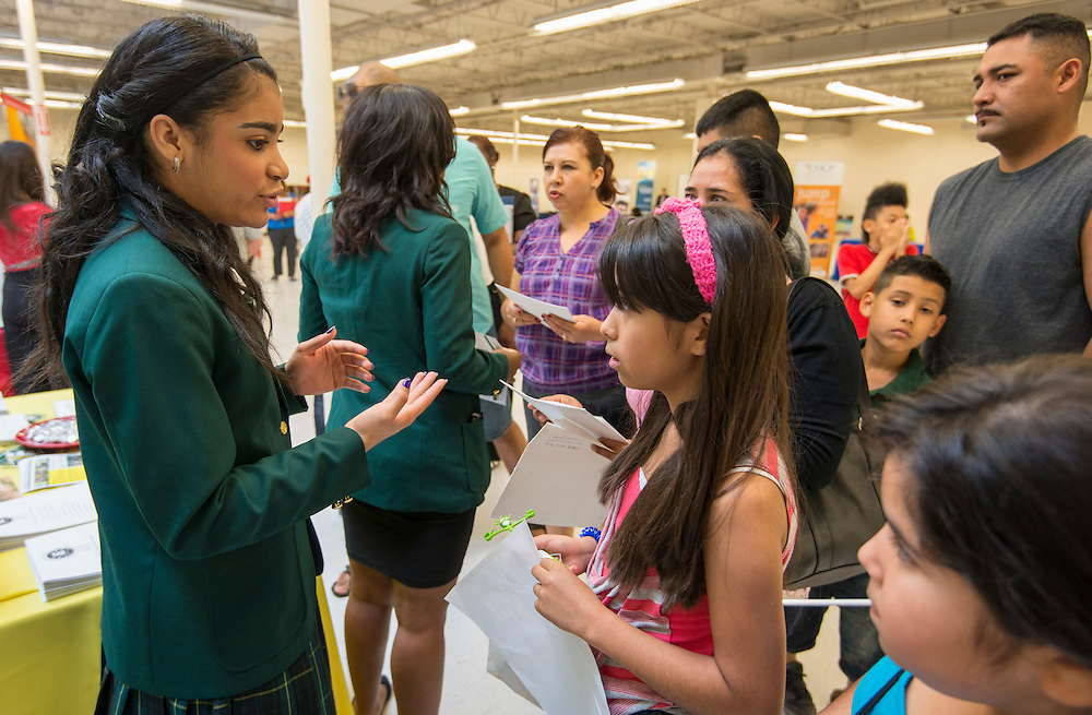 Houston ISD schools' staff recruit students during a School Choice Fair at Northwest Mall, April, 26, 2014.