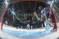 PENTICTON, CANADA - SEPTEMBER 9: Stuart Skinner #50 of Edmonton Oilers scuffs the crease against the Winnipeg Jets on September 9, 2017 at the South Okanagan Event Centre in Penticton, British Columbia, Canada.  (Photo by Marissa Baecker/Shoot the Breeze)  *** Local Caption ***