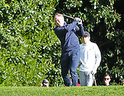 Paul Scholes tees off at hole 2 at the BMW PGA Championship Celebrity Pro-Am Challenge at the Wentworth Club, Virginia Water, United Kingdom on 20 May 2015