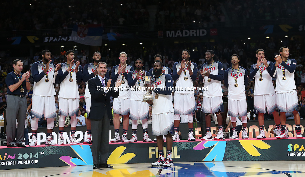 TEAM of United states of America basketball team in action during Final FIBA World cup match against Serbia, Madrid, Spain Photo: MN PRESS PHOTO<br /> Basketball, Serbia, United states of America, Final, FIBA World cup Spain 2014