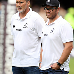Robert du Preez (Head Coach) of the Cell C Sharks with Jaco Pienaar (Assistant Coach) of the Cell C Sharks during the Super Rugby match between the Cell C Sharks and the Western Force at Growthpoint Kings Park on May 06, 2017 in Durban, South Africa. (Photo by Steve Haag)
