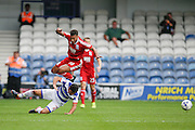 David Davis leaps over Massimo Luongo during the EFL Sky Bet Championship match between Queens Park Rangers and Birmingham City at the Loftus Road Stadium, London, England on 24 September 2016. Photo by Jarrod Moore.