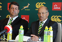 CAPE TOWN, SOUTH AFRICA - Thursday 25 April 2013, Dawie Theron (coach) and Pat Kuhn (SARU Exco) during the official team announcement at SARU House, of the Springbok u/20 rugby team to represent South Africa in the IRB Junior World Championship (JWC) in France during the month of June. .Photo by Roger Sedres/ImageSA