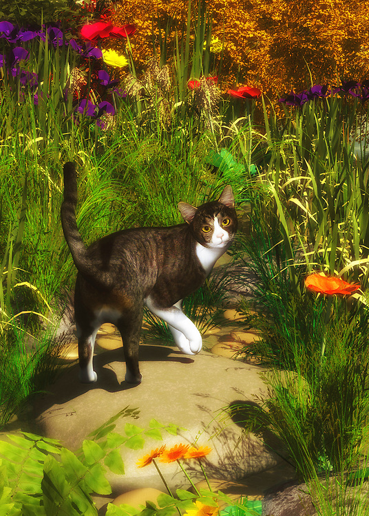 Surrounded by tall, lovely elements of nature on a warm, beautiful day, A Cat Turns Around brings this cat into a unique situation. It stands to reason that the cat has wandered from somewhere far away. Or the cat was brought to this beautiful field, where it made a bold escape for unknown destinations. Certainly, it would seem that the cat was on a very important mission of some kind, only to be interrupted. His mildly surprised expression suggest that they expected this was going to happen all along. This unique art print is available as wall art, on t-shirts, or in a range of interior products. .<br />