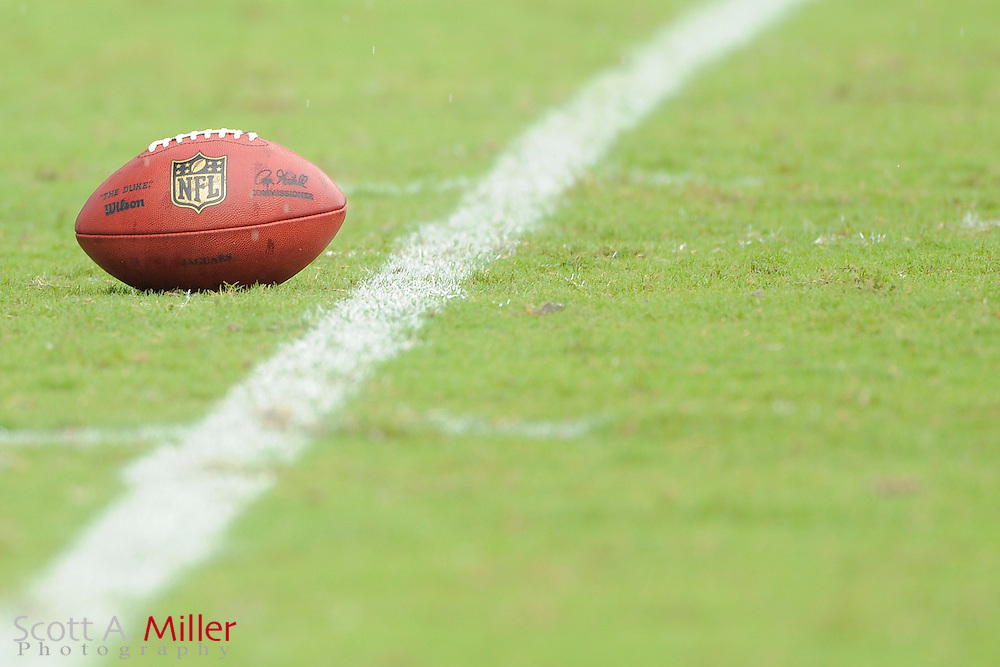 "A Wilson ""Duke"" NFL football sits on the field during the NFL game between the Houston Texans and the Jacksonville Jaguars, at EverBank Field on September 16, 2012 in Jacksonville, Florida. ©2012 Scott A. Miller."