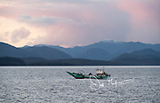 A commercial fishing boat makes its way through Aysen Fjord and teh Moraleda Channel, Chile.