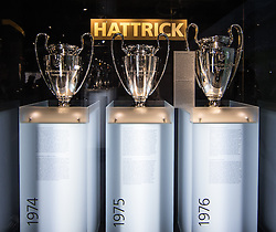 14.05.2013, Alianz Arena, Muenchen, GER, UEFA CL, FC Bayern Muenchen, Erlebniswelt, im Bild Hattrick im UEFA Landesmeister Cup1974, 75 und 76, Pokale // A European Cup Hattrick 1974, 75 and 76, the trophies at the world of experience during the open media day of FC Bayern Munich in front of the UEFA Champions League Final 2013 held at the Alianz Arena, Munich, Germany on 2013/05/14