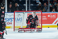 KELOWNA, CANADA - MARCH 14: Taylor Gauthier #35 of the Prince George Cougars makes a save against the Kelowna Rockets  on March 14, 2018 at Prospera Place in Kelowna, British Columbia, Canada.  (Photo by Marissa Baecker/Shoot the Breeze)  *** Local Caption ***