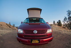 Big Red Volkswagen Eurovan at Plaskett Ridge, Los Padres National Forest, Big Sur, California, US