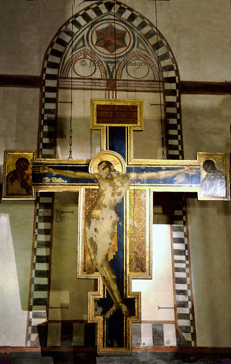 The crucifix painted in 1288 by Cimabue for the church of Santa Croce was severely damaged in the flood of 1966.  Preserved  but not restored, it is displayed in the Museo dell'Opera di Santa Croce.  Cimabue's style humanizes Byzantine severity, in the faces of Jesus, Mary, and St. John.