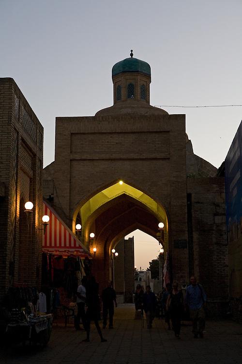Taqi Sarrafon trading dome at dusk, Bukhara