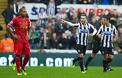 19.10.2013, St. James Park, New Castle, ENG, Premier League, ENG, Premier League, Newcastle United vs FC Liverpool, 8. Runde, im Bild Newcastle United's Yohan Cabaye celebrates scoring the first goal against Liverpool // during the English Premier League 8th round match between Newcastle United and Liverpool FC St. James Park in New Castle, Great Britain on 2013/10/19. EXPA Pictures © 2013, PhotoCredit: EXPA/ Propagandaphoto/ David Rawcliffe<br /> <br /> *****ATTENTION - OUT of ENG, GBR*****