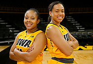 Iowa Hawkeyes guard Tania Davis (11) and guard Alexis Sevillian (5) pose for a picture during Media Day at Carver-Hawkeye Arena in Iowa City on Wednesday, Oct. 26, 2016. Davis and Sevillian are both from Goodrich High School in Goodrich, Michigan.