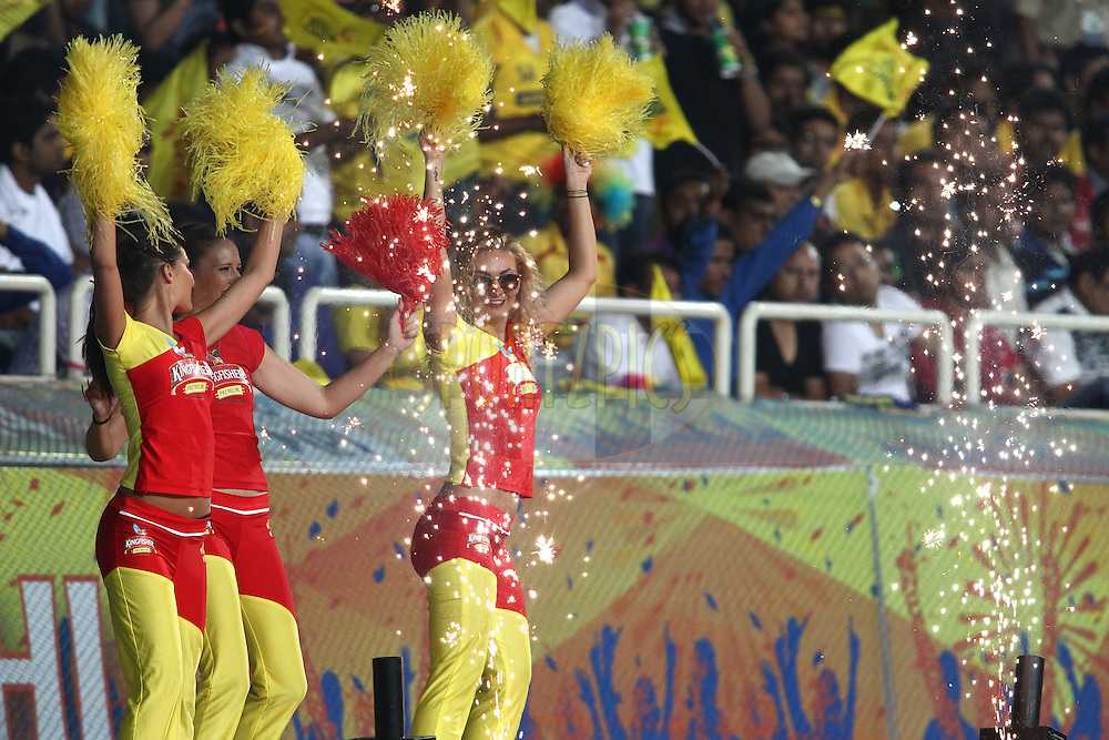 Cheerleaders perform during match 21 of the Pepsi Indian Premier League Season 2014 between the Chennai Superkings and the Kolkata Knight Riders  held at the JSCA International Cricket Stadium, Ranch, India on the 2nd May  2014<br /> <br /> Photo by Shaun Roy / IPL / SPORTZPICS<br /> <br /> <br /> <br /> Image use subject to terms and conditions which can be found here:  http://sportzpics.photoshelter.com/gallery/Pepsi-IPL-Image-terms-and-conditions/G00004VW1IVJ.gB0/C0000TScjhBM6ikg