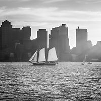 Boston skyline sunset panoramic black and white photo. Picture includes Boston skyscraper buildings and boats on Boston Harbor
