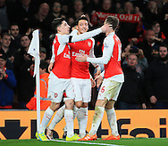 Arsenal's Mesut Ozil celebrates scoring his sides second goal<br /> <br /> Barclays Premier League- Arsenal vs AFC Bournemouth - Emirates Stadium - England - 28th December 2015 - Picture - David Klein/Sportimage