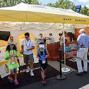 August 16, 2014, New Haven, CT:<br /> Fans enjoy the First Niagara booth on day four of the 2014 Connecticut Open at the Yale University Tennis Center in New Haven, Connecticut Monday, August 18, 2014.<br /> (Photo by Billie Weiss/Connecticut Open)
