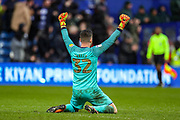 Queens Park Rangers goalkeeper Liam Kelly (32) celebrates Queens Park Rangers taking the lead 3-2 during the EFL Sky Bet Championship match between Queens Park Rangers and Stoke City at the Kiyan Prince Foundation Stadium, London, England on 15 February 2020.