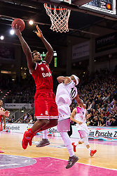 28.03.2016, Telekom Dome, Bonn, GER, Beko Basketball BL, Telekom Baskets Bonn vs FC Bayern Muenchen, 23. Runde, im Bild Deon Thompson (FC Bayen Muenchen #9) beim Korbleger gegen Eugene Lawrence (Telekom Baskets Bonn #10) // during the Beko Basketball Bundes league 23th round match between Telekom Baskets Bonn and FC Bayern Munich at the Telekom Dome in Bonn, Germany on 2016/03/28. EXPA Pictures © 2016, PhotoCredit: EXPA/ Eibner-Pressefoto/ Schüler<br /> <br /> *****ATTENTION - OUT of GER*****