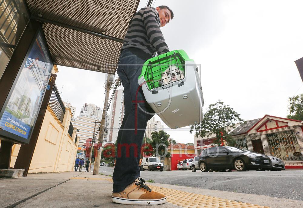 O prefeito de São Paulo, Fernando Haddad (PT), sancionou nesta quarta-feira (11) a lei que autoriza o transporte de animais domésticos de pequeno porte nos ônibus coletivos na Capital. O projeto do vereador David Soares (PSD) havia sido aprovado pela Câmara Municipal no dia 4 de fevereiro de 2015. - FOTO MARCELO D'SANTS/FRAME