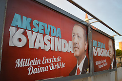 August 7, 2017 - Ankara, Turkey - Billboards with a portrait of Turkish President Recep Tayyip Erdogan are displayed as the ruling Justice and Development Party (AKP) unveils new billboards to mark the 16th foundation anniversary of the party in Ankara, Turkey on August 07, 2017. The AKP prepares to celebrate the 16th anniversary with a rally on August 14 as President Erdogan is expected to deliver a speech to supporters of the party. (Credit Image: © Altan Gocher/NurPhoto via ZUMA Press)