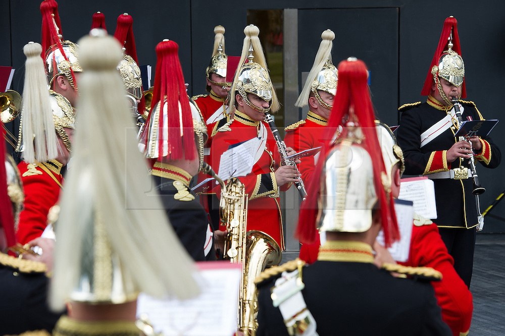 © London News Pictures. 22/06/15. London, UK. Members of the Household Cavalry Band play during a ceremony to honour UK Armed Forces, Central London. Photo credit: Laura Lean/LNP