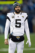 Jacksonville Jaguars quarterback Blake Bortles (5) looks on from the sideline during the week 14 regular season NFL football game against the Tennessee Titans on Thursday, Dec. 6, 2018 in Nashville, Tenn. The Titans won the game 30-9. (©Paul Anthony Spinelli)