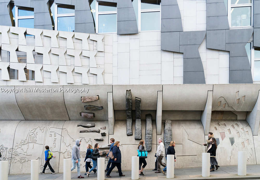 View of exterior architecture of Scottish Parliament Building in Holyrood, Edinburgh, Scotland, United Kingdom