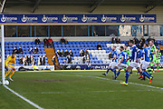 Forest Green Rovers Christian Doidge(9) header hits the post during the FA Trophy match between Macclesfield Town and Forest Green Rovers at Moss Rose, Macclesfield, United Kingdom on 4 February 2017. Photo by Shane Healey.