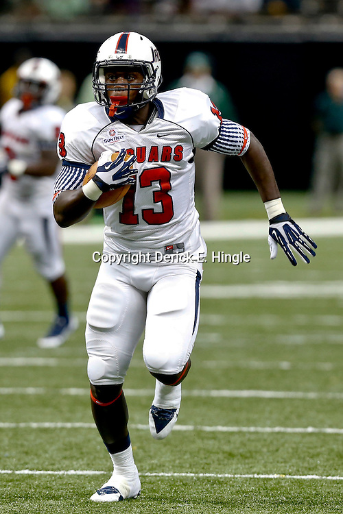 Sep 7, 2013; New Orleans, LA, USA; South Alabama Jaguars tight end Wes Saxton (13) against the Tulane Green Wave during the first quarter of a game at the Mercedes-Benz Superdome. Mandatory Credit: Derick E. Hingle-USA TODAY Sports