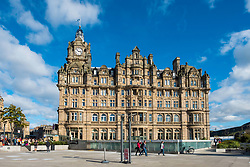 View of luxury Balmoral Hotel on Princes Street in Edinburgh, Scotland, United Kingdom