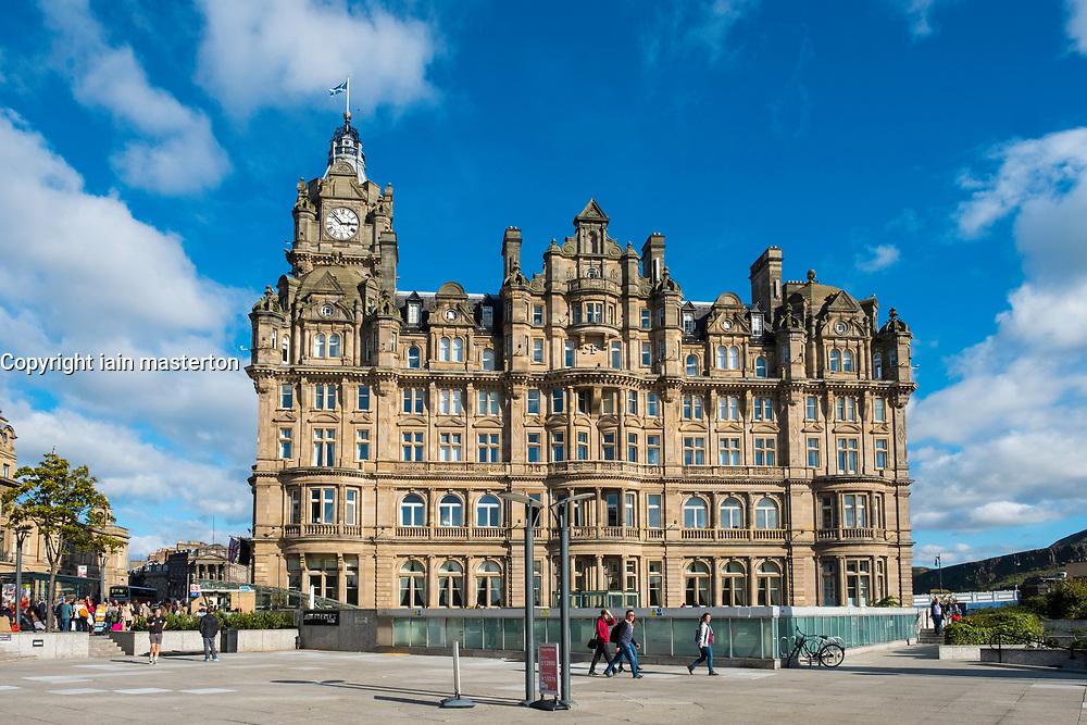 View of luxury Balmoral Hotel on Princes Street in Edinburgh, Scotland, United Kingdom