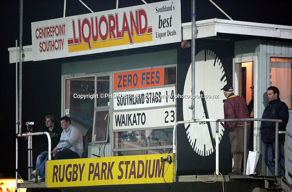The scoreboard during the Air New Zealand Cup rugby match between Southland and Waikato at Rugby Park Stadium, Invercargill, on Saturday 5 August 2006. Photo: Richard Jones/PHOTOSPORT<br /> <br /> <br /> 050806 week 2 npc
