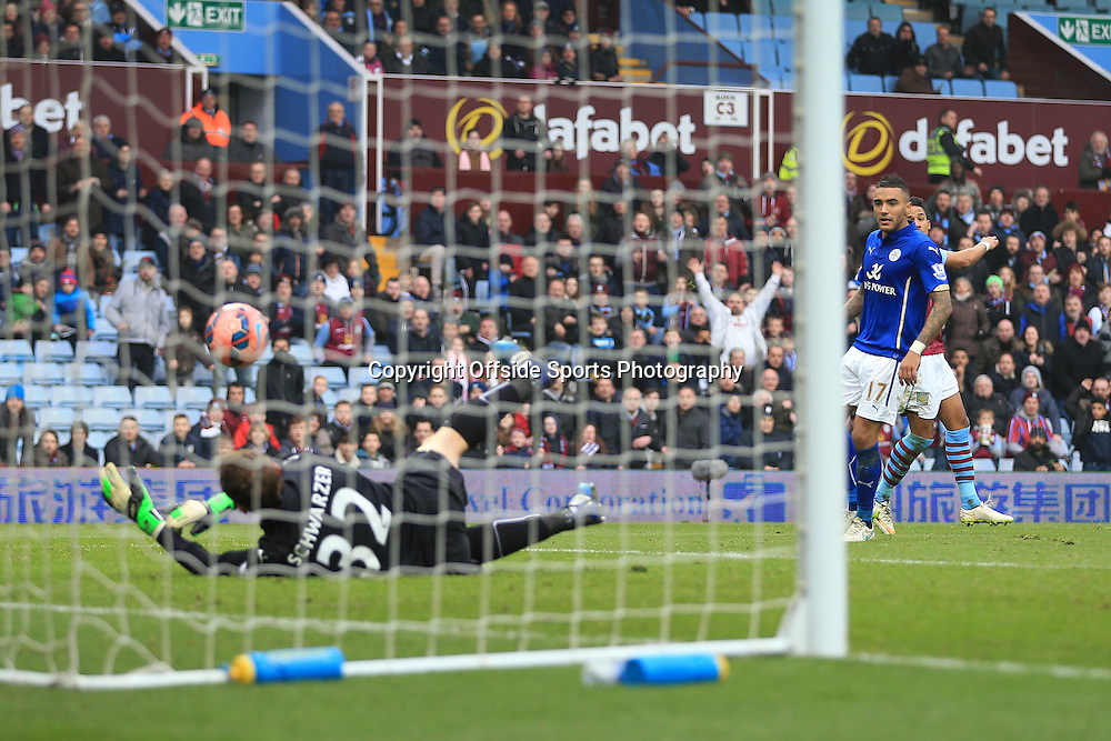 15th February 2015 - FA Cup 5th Round - Aston Villa v Leicester City - Leicester goalkeeper Mark Schwarzer fumbles the ball as Scott Sinclair of Villa scores their 2nd goal - Photo: Simon Stacpoole / Offside.