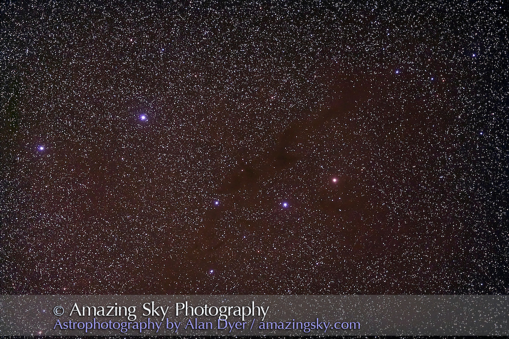 B228 Dark Nebula in Lupus, on Alan Whitman's Finest Southern Sky List in RASC Observer's Handbook. Taken with 77mm Borg refractor at f/4.3 and Hutech-modified Canon 5D camera for stack of 4 x 8 minute exposures at ISO 400. Taken from Coonabarabran, NSW, Australia, April 17, 2007.