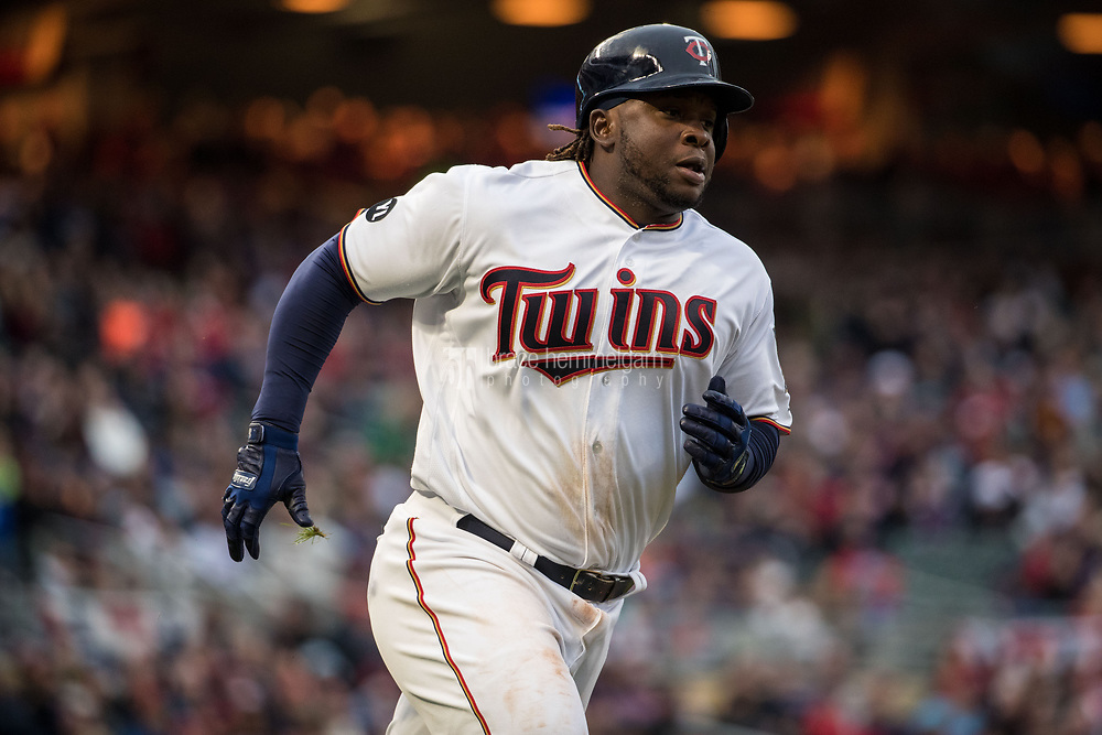 MINNEAPOLIS, MN- APRIL 3: Miguel Sano #22 of the Minnesota Twins runs against the Kansas City Royals on April 3, 2017 at Target Field in Minneapolis, Minnesota. The Twins defeated the Royals 7-1. (Photo by Brace Hemmelgarn) *** Local Caption *** Miguel Sano