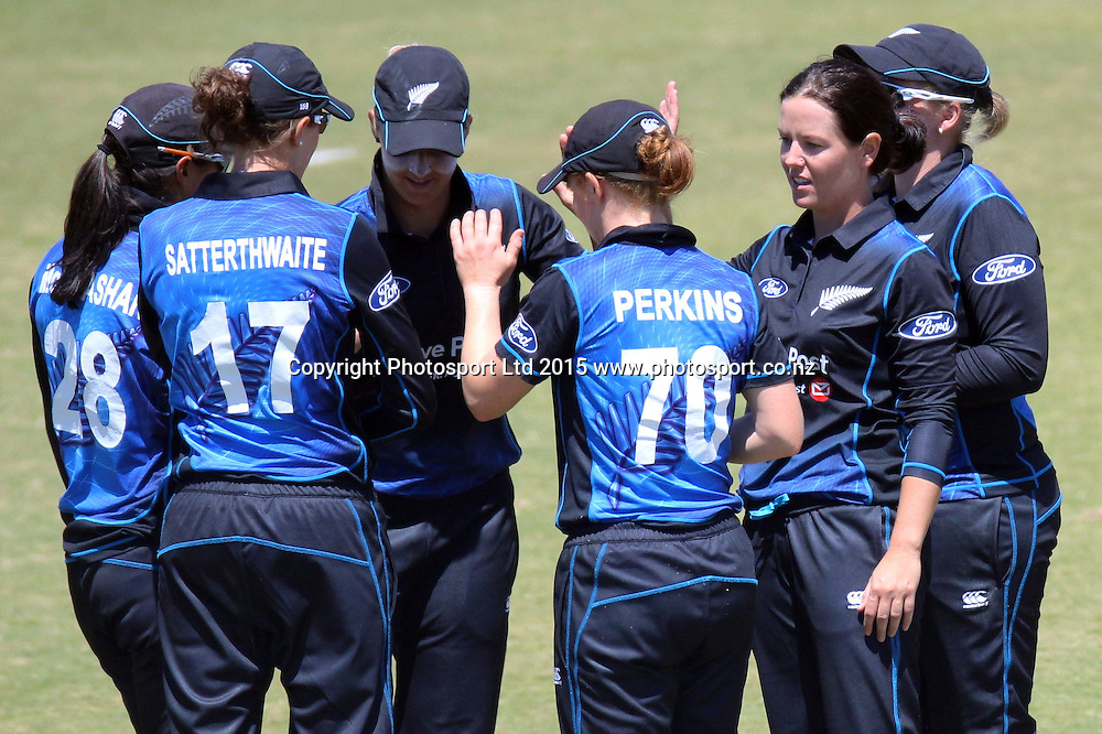 Erin Bermingham and team celebrate the wicket of Jenny Gunn. New Zealand White Ferns v England - 3rd ODI at Bay Oval, Mount Maunganui, New Zealand. 15 February 2015. Photo credit: Margot Butcher/www.photosport.co.nz