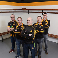 13 March 2017; Ballyea manager Robbie Hogan, centre, along with his management team, from left, selector Raymond O'Connor, selector Diarmuid O'Sullivan, selector Alan Duggan and coach Fergal Hegarty during a media night at Ballyea GAA Club in Ballyea, Co Clare, ahead of the AIB GAA Senior Hurling Club Championship Final. Photo by Diarmuid Greene/Sportsfile