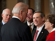 Nov 29, 2010 - Washington, District of Columbia, U.S. - Vice President JOE BIDEN speaks with Sen. MARK KIRK, (R-IL) on Monday, following a re-enactment of the swearing-in at the Old Senate Chamber in the U.S. Capitol..(Credit Image: © Pete Marovich/ZUMA Press)