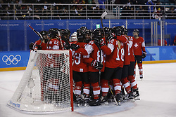 February 18, 2018 - Pyeongchang, KOREA - Switzerland gathers after a hockey game between Switzerland and Korea during the Pyeongchang 2018 Olympic Winter Games at Kwandong Hockey Centre. Switzerland beat Korea 2-0. (Credit Image: © David McIntyre via ZUMA Wire)