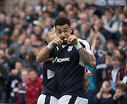 Dundee&rsquo;s Kane Hemmings celebrates after scoring his second goal - Dundee United v Dundee in the Ladbrokes Premiership at Tannadice<br /> <br />  - &copy; David Young - www.davidyoungphoto.co.uk - email: davidyoungphoto@gmail.com