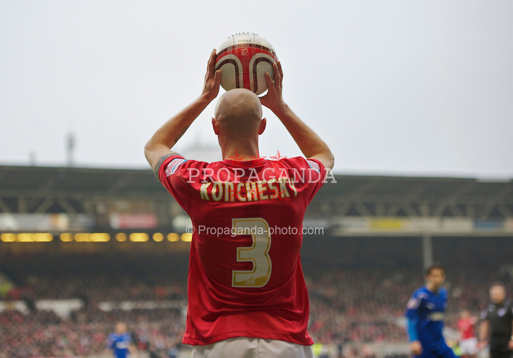 NOTTINGHAM, ENGLAND - Saturday, February 19, 2011: Nottingham Forest's Paul Konchesky in action against Cardiff City during the Football League Championship match at the City Ground. (Photo by David Rawcliffe/Propaganda)