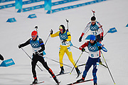 PYEONGCHANG-GUN, SOUTH KOREA - FEBRUARY 12: Simon Schempp of Germany, Sebastian Samuelsson of Sweden, Martin Fourcade of France and Tarjei Boe of Norway during the Mens Biathlon 12.5km Pursuit at Alpensia Biathlon Centre on February 12, 2018 in Pyeongchang-gun, South Korea. Photo by Nils Petter Nilsson/Ombrello               ***BETALBILD***