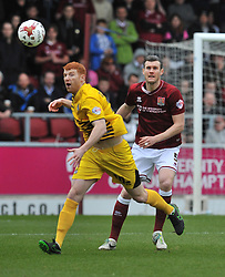 BRISTOL ROVERS TOM LOCKYER HOLDS OF NORTHAMPTONS JOHN MARQUIS, BRISTOL ROVERS RORY GAFFNEY  HOLDS OF NORTHAMPTONS JOHN MARQUIS, Northampton Town v Bristol Rovers, Sky Bet League Two, Sixfields Stadium, Saturday 9th April 2016, (Score 2-2) Northampton Promoted to League One,
