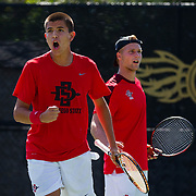 17 March 2017: The San Diego State Aztecs men's tennis team took on Harvard Friday afternoon at the Aztec Tennis Center.<br /> www.sdsuaztecphotos.com