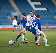 Grove Academy (white) v St Johns (blue) in the Under 15s Senior Sports Cup Final at Dens Park<br /> <br /> <br />  - &copy; David Young - www.davidyoungphoto.co.uk - email: davidyoungphoto@gmail.com