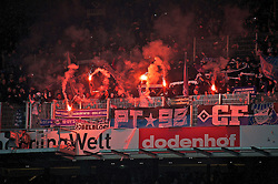 01.03.2014, Weserstadion, Bremen, GER, 1. FBL, SV Werder Bremen vs Hamburger SV, 23. Runde, im Bild Pyrotechnik im Block der Hamburger // Pyrotechnik im Block der Hamburger during the German Bundesliga 23th round match between SV Werder Bremen and Hamburger SV at the Weserstadion in Bremen, Germany on 2014/03/01. EXPA Pictures © 2014, PhotoCredit: EXPA/ Andreas Gumz<br /> <br /> *****ATTENTION - OUT of GER*****
