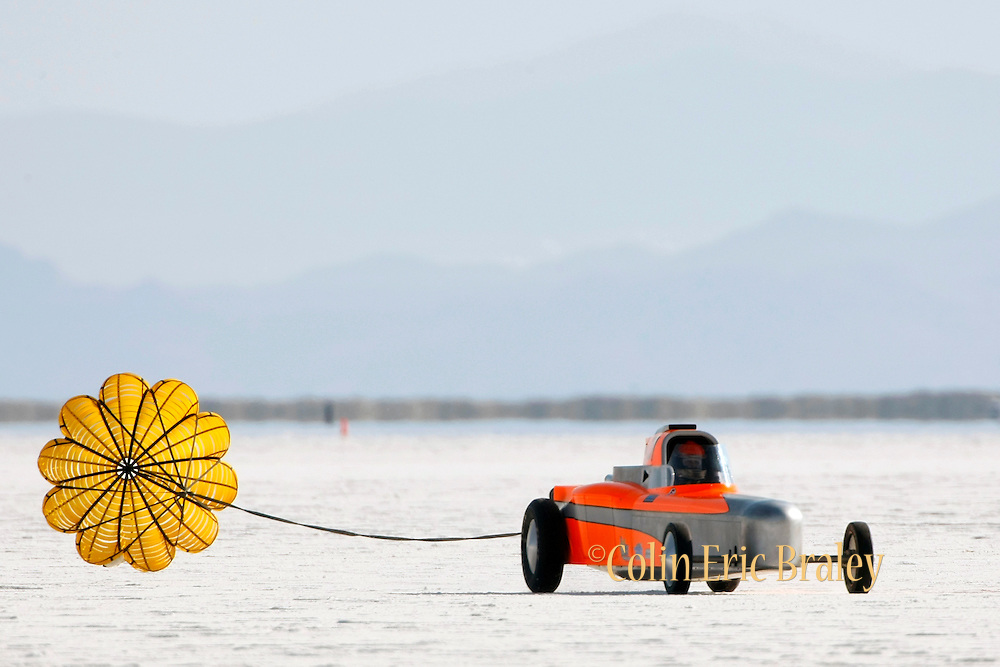 Best cars-people-atmosphere-photos of 2009 Bonneville Speed Week- The BMC Special driven by Robert Blakely of Houston, TX. exits after a run at the Bonneville Speed Way. August 9, 2009. Blakely captured a new land speed record of 235.437 mph.  Photo by Colin E. Braley