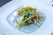 Vienna, Austria. Steirereck breakfast at the Meierei im Stadtpark.<br /> Saiblings–Tatare mit Sprossensalat (Char Tartare with Bean Sprouts and Black Radish)
